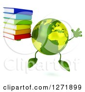 Clipart Of A 3d Green Earth Character Holding A Stack Of Books And Jumping Royalty Free Illustration