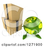 Clipart Of A 3d Green Earth Character Holding Up Boxes Royalty Free Illustration