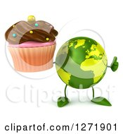 Clipart Of A 3d Green Earth Character Holding Up A Thumb And Chocolate Frosted Cupcake Royalty Free Illustration