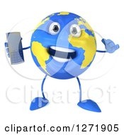 Clipart Of A 3d Happy Blue And Yellow Earth Character Talking On A Cell Phone Royalty Free Illustration