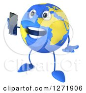 Clipart Of A 3d Happy Blue And Yellow Earth Character Facing Left And Talking On A Cell Phone Royalty Free Illustration