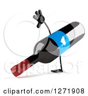 Clipart Of A 3d Cartwheeling Wine Bottle Mascot With A Blue Grape Label Royalty Free Illustration