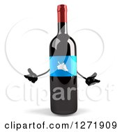 Clipart Of A 3d Shrugging Wine Bottle Mascot With A Blue Grape Label Royalty Free Illustration