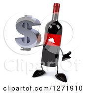 Clipart Of A 3d Wine Bottle Mascot With A Red Grape Label Shrugging With A Dollar Symbol Royalty Free Illustration