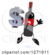 Clipart Of A 3d Wine Bottle Mascot With A Red Grape Label Jumping With A Dollar Symbol Royalty Free Illustration