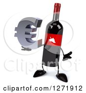 Clipart Of A 3d Wine Bottle Mascot With A Red Grape Label Shrugging With A Euro Symbol Royalty Free Illustration