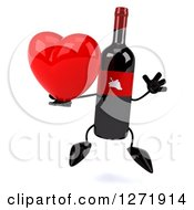 Clipart Of A 3d Wine Bottle Mascot With A Red Grape Label Jumping With A Heart Royalty Free Illustration