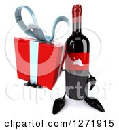 Clipart Of A 3d Wine Bottle Mascot With A Red Grape Label Holding Up A Gift Royalty Free Illustration