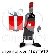 Clipart Of A 3d Wine Bottle Mascot With A Red Grape Label Holding A Gift And Thumb Down Royalty Free Illustration