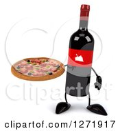 Clipart Of A 3d Wine Bottle Mascot With A Red Grape Label Holding A Pizza Royalty Free Illustration