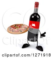 Clipart Of A 3d Wine Bottle Mascot With A Red Grape Label Shrugging And Holding A Pizza Royalty Free Illustration