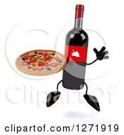 Clipart Of A 3d Wine Bottle Mascot With A Red Grape Label Jumping And Holding A Pizza Royalty Free Illustration