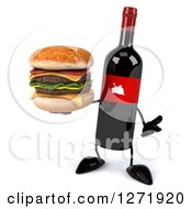 Clipart Of A 3d Wine Bottle Mascot With A Red Grape Label Shrugging With A Double Cheeseburger Royalty Free Illustration