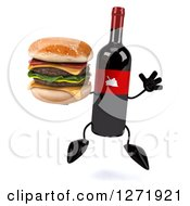 Clipart Of A 3d Wine Bottle Mascot With A Red Grape Label Jumping With A Double Cheeseburger Royalty Free Illustration