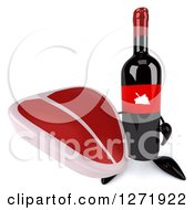 Clipart Of A 3d Wine Bottle Mascot With A Red Grape Label Holding Up A Steak Royalty Free Illustration