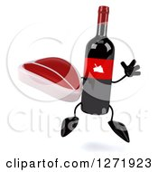 Clipart Of A 3d Wine Bottle Mascot With A Red Grape Label Jumping With A Steak Royalty Free Illustration
