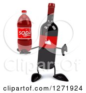 Clipart Of A 3d Wine Bottle Mascot With A Red Grape Label Holding A Soda Bottle And Thumb Down Royalty Free Illustration