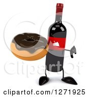 Clipart Of A 3d Wine Bottle Mascot With A Red Grape Label Holding A Thumb Down And Chocolate Frosted Donut Royalty Free Illustration