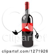 Clipart Of A 3d Presenting Wine Bottle Mascot With A Red Grape Label Royalty Free Illustration