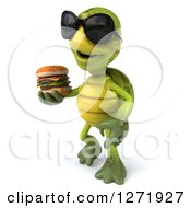Clipart Of A 3d Tortoise Wearing Sunglasses Facing Left And Walking With A Double Cheeseburger Royalty Free Illustration