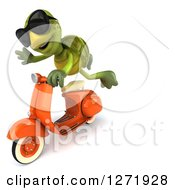 Clipart Of A 3d Tortoise Wearing Sunglasse And Flying By On A Scooter Royalty Free Illustration