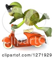 Clipart Of A 3d Tortoise Wearing Sunglasse And Flying By On A Scooter 2 Royalty Free Illustration