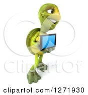 Clipart Of A 3d Tortoise Facing Right And Holding A Tablet Computer Royalty Free Illustration