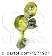 Clipart Of A 3d Tortoise Facing Right And Using A Tablet Computer Royalty Free Illustration