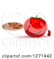 Clipart Of A 3d Happy Tomato Character Holding A Pizza Royalty Free Illustration