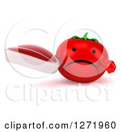 Clipart Of A 3d Unhappy Tomato Character Holding And Pointing To A Steak Royalty Free Illustration