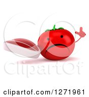 Clipart Of A 3d Unhappy Tomato Character Holding Up A Finger And A Steak Royalty Free Illustration