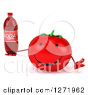 Clipart Of A 3d Happy Tomato Character Shrugging And Holding A Soda Bottle Royalty Free Illustration