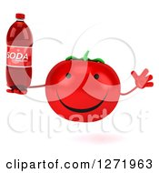 Clipart Of A 3d Happy Tomato Character Jumping And Holding A Soda Bottle Royalty Free Illustration