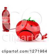 Clipart Of A 3d Unhappy Tomato Character Shrugging And Holding A Soda Bottle Royalty Free Illustration