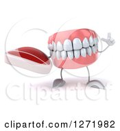 Clipart Of A 3d Dentures Or Teeth Character Holding Up A Finger And A Steak Royalty Free Illustration