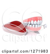 Clipart Of A 3d Dentures Or Teeth Character Holding A Steak And Thumb Down Royalty Free Illustration