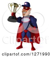 Clipart Of A 3d White Male Super Hero Mechanic In A Navy Blue And Red Suit Facing Left And Holding Up A Trophy Royalty Free Illustration