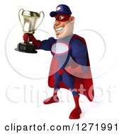 Clipart Of A 3d White Male Super Hero Mechanic In A Navy Blue And Red Suit Facing Left And Holding A Trophy Royalty Free Illustration