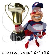 Clipart Of A 3d White Male Super Hero Mechanic In A Navy Blue And Red Suit Holding Up A Trophy Royalty Free Illustration