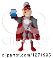 Clipart Of A 3d White Male Super Hero Mechanic In A Red And Gray Suit Holding Out A Cell Phone Royalty Free Illustration