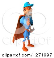 Clipart Of A 3d White Male Super Hero Mechanic In A Blue And Orange Suit Facing Right And Holding Out A Cell Phone Royalty Free Illustration