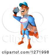 Clipart Of A 3d White Male Super Hero Mechanic In A Blue And Orange Suit Talking On A Cell Phone Royalty Free Illustration