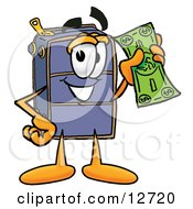 Clipart Picture Of A Suitcase Cartoon Character Holding A Dollar Bill