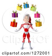 3d Young White Male Super Hero Santa Juggling Christmas Gifts