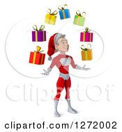 3d Young White Male Super Hero Santa Facing Right And Juggling Christmas Gifts