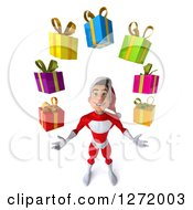 Clipart Of A 3d Young White Male Super Hero Santa Looking Up And Juggling Christmas Gifts Royalty Free Illustration by Julos