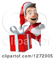 3d Young White Male Super Hero Santa Smiling And Holding A Christmas Gift Around A Sign
