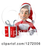 3d Young White Male Super Hero Santa Holding A Christmas Gift Over A Sign