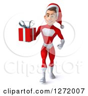 3d Young White Male Super Hero Santa Walking And Holding A Christmas Gift