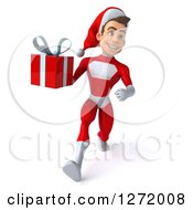 3d Young White Male Super Hero Santa Running And Holding A Christmas Gift